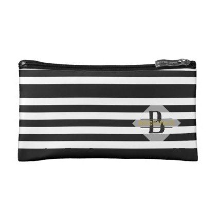 Black White Stripe Bridesmaid Gift Personalized Makeup Bag - party gifts gift ideas diy customize