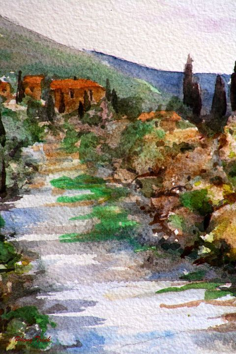 Lagrasse (17) - Phong Trinh Watercolor. More Fine Art Print Available at http://www.artpal.com/phongtrinh/
