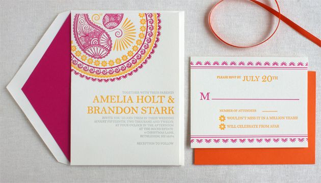 Indian Letterpress Wedding Invitation by Inkprint Letterpress