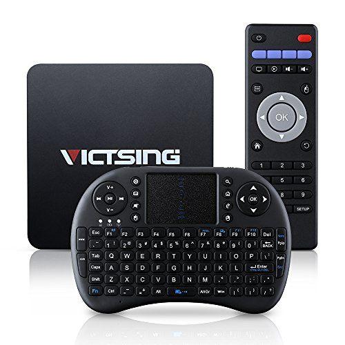 VicTsing Smart TV Box Android 5.1 Quad Core 64bits ARM Cortex A53 CPU Amlogic S905 1G DDR3 +8G eMMC Flash UHD 4K x 2K Bluetooth 4.0 H.265 HDMI 2.0 Soutient WiFi & Miracast/DLNA & Gigabit Network & OTA, Pré-installé Vidon XBMC/YouTube/Netflix/Skype pour Divertissement à Domicile + Clavier sans fil VicTsing http://www.amazon.fr/dp/B01AK2COY2/ref=cm_sw_r_pi_dp_.sHPwb1ARDGB2