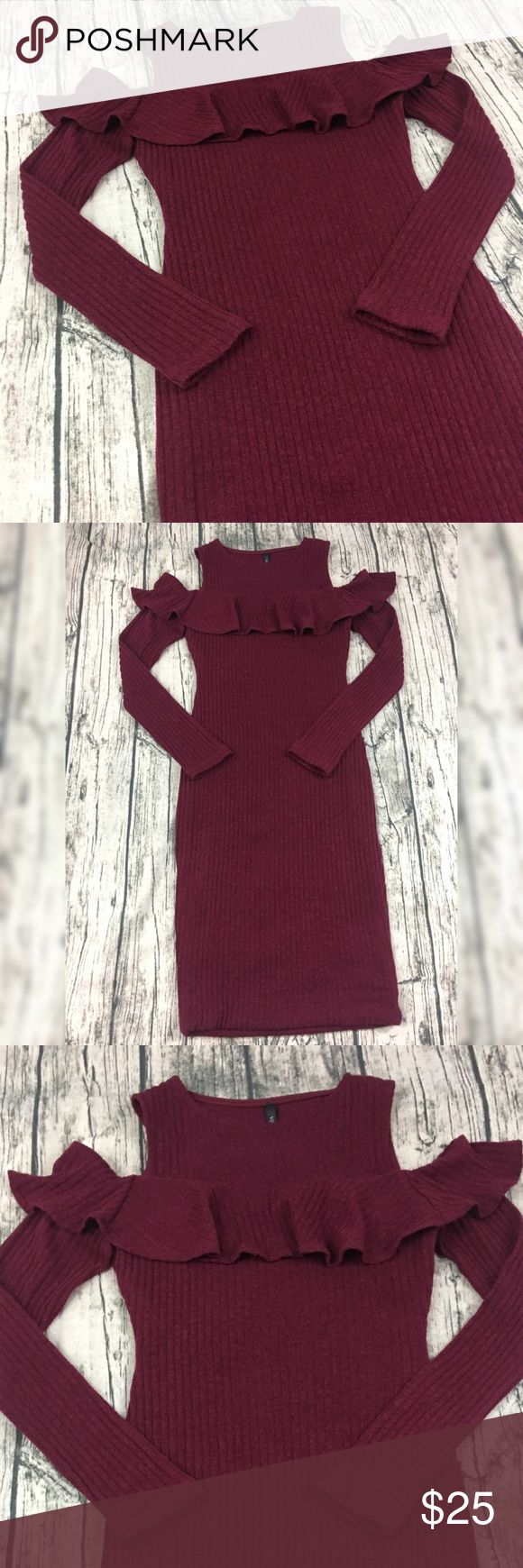 Cold Shoulder Ruffle Ribbed Sweater Dress Peel-a-boo shoulder fitted bodycon dress in Burgundy. Size small. Super adorable, soft material with stretch. Perfect for the Holidays or for a Christmas gift! Dresses Long Sleeve