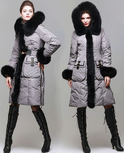 Belted White Duck Down Fur-Trimmed Coat in Grey or Black