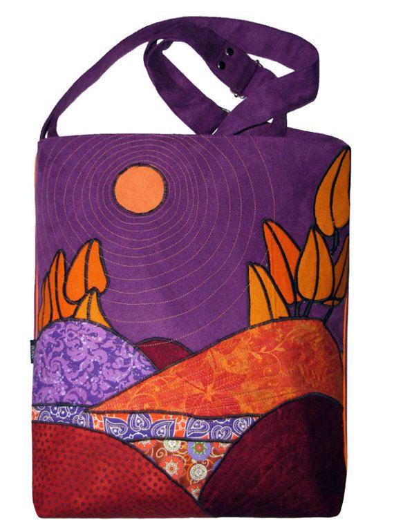 Violet Appliqued Eco Suede Bag Crossbody Landscape Bag by ifONA