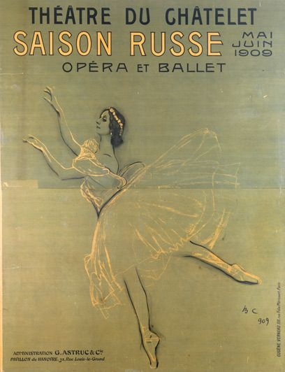 Poster of Anna Pavlova in Chopiniana for the Ballets Russes.Théatre du Châtelet, Paris, 1909. Illustration by Valentin Serov.