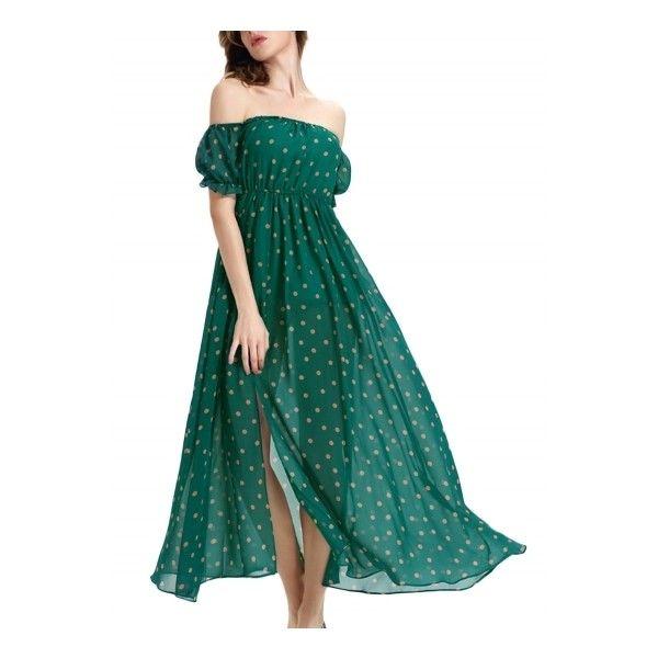 Women's Polka Dot Print Off Shoulder Slit Chiffon Dress (47 BAM) ❤ liked on Polyvore featuring dresses, hunter green, off shoulder dress, spotted dress, dot dress, slit dress and hunter green dress