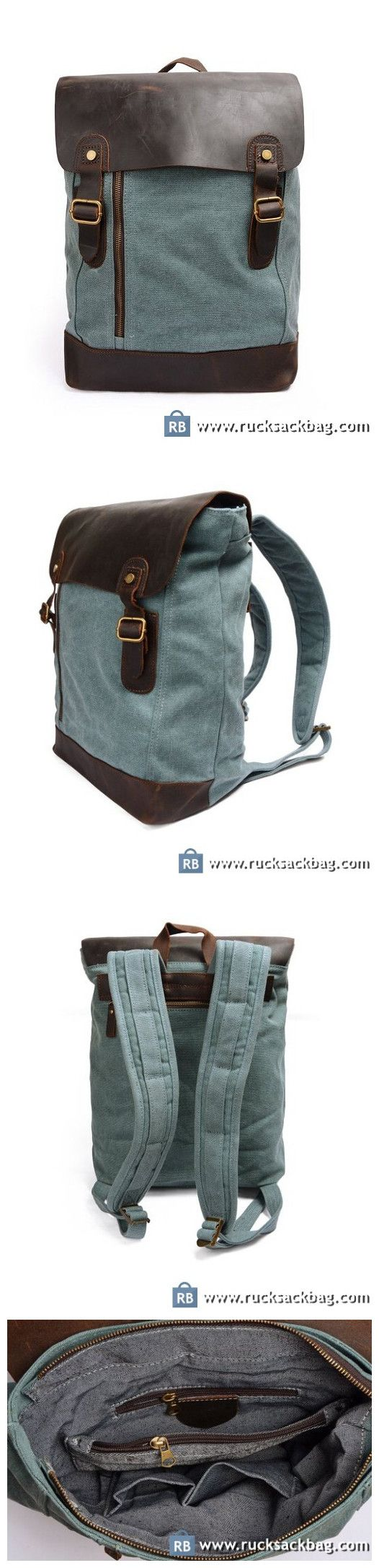 Traveling Backpacks Canvas Travel Backpack Large Rucksack Blue