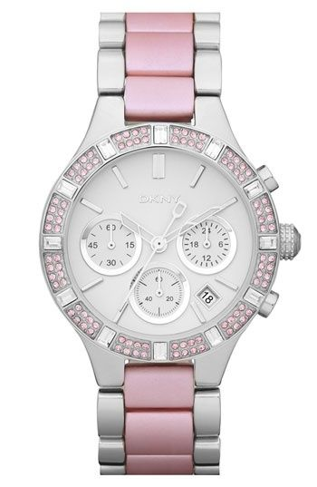 5ecb31026666 DKNY Watch, Women's Chronograph Stainless Steel and Pink Aluminum Bracelet  - Watches - Jewelry & Watches - Macy's