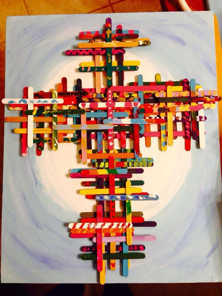 """Kindergarten Art Auction project - kid painted Popsicle stick crosses on hand painted 16"""" X 20"""" canvas"""