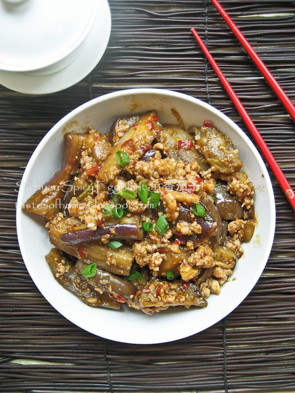 Sichuan Spicy Eggplant (sub veggie crumbles for pork)