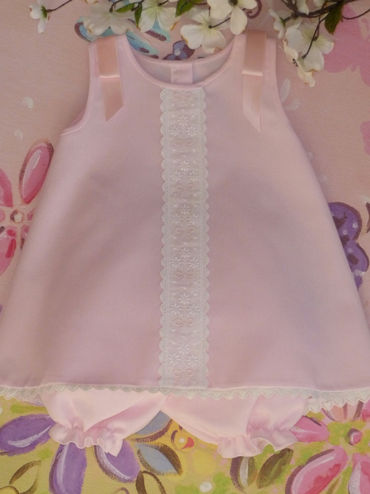 Pink Pique Sleeveless Baby Dress and Bloomer. $53.00, via Etsy.
