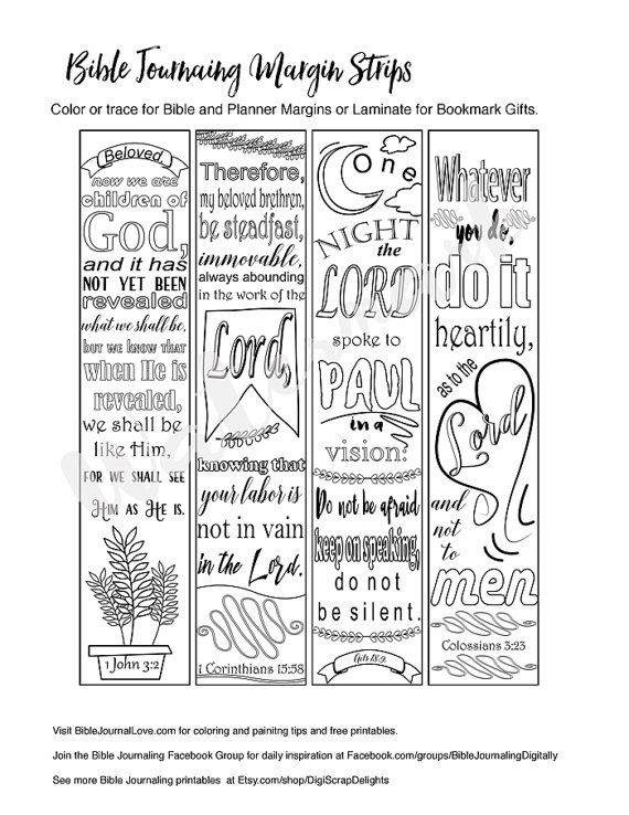 Printable Coloring Bible Journaling Margin Strips Faith Verses For Wide Margins Or Planner Sticker Decoration Bookmarks