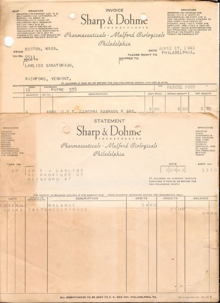 Lot of 2 1941 Billhead Receipt Sharp and Dohm