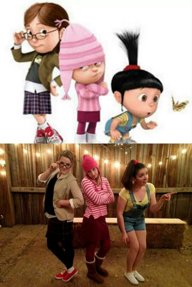 Halloween Costume: Despicable Me- Margo, Edith, and Agnus. #despicableme