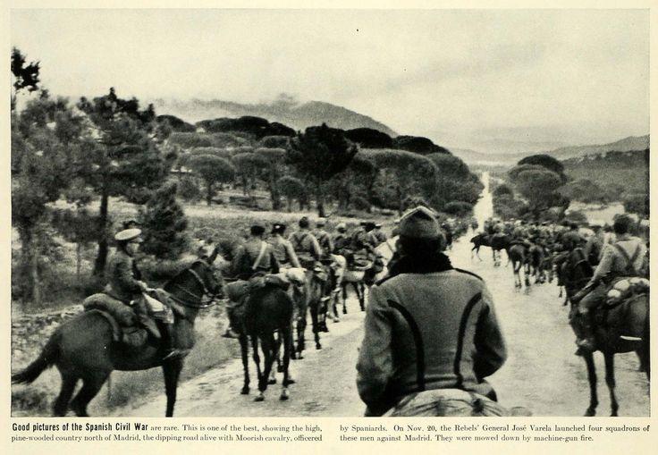 1936 Print Spanish Civil War Moorish Cavalry Madrid Spaniards Spain Military LF5
