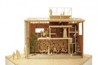 断面模型。古い家の中に新たに家をもうひとつ挿入。