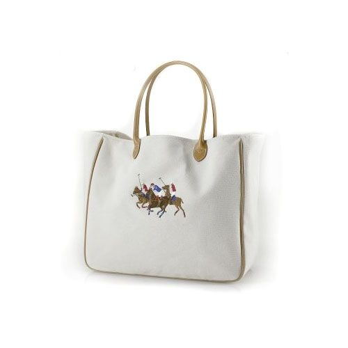 Ralph Lauren Women\u0027s 2007 Canvas/PU Tote in White