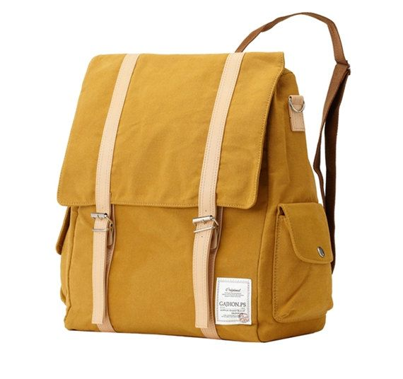 Two pocket multi Backpack Yellow by BagDoRi on Etsy, $60.00