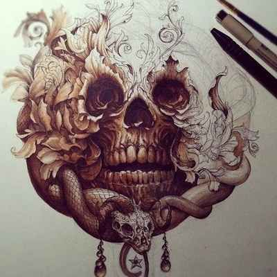 The Snake In A Skull. This is on paper, but wouldn't it look awesome?