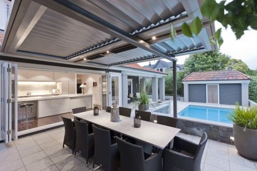 Perfect louvered roof. Outdoor kitchen? Yes, please.