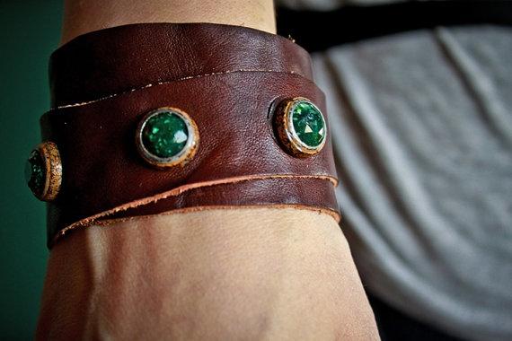 kibisis #leather #cuff by kibisis on Etsy