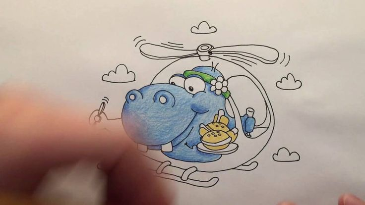 Watch me draw a Happy Hippo with a Hippie Headband Hovering in a Helicopter while Holding Hamburgers and Hot dogs, words that start with the letter H.