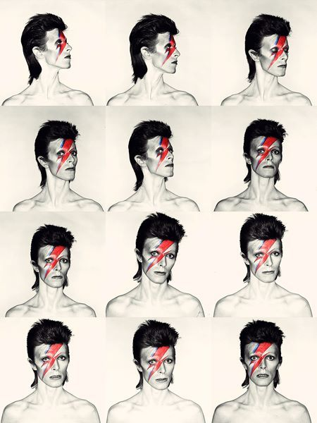 David Bowie: Aladdin Sane, 1973. Photo by Brian Duffy, makeup by Pierre LaRoche.