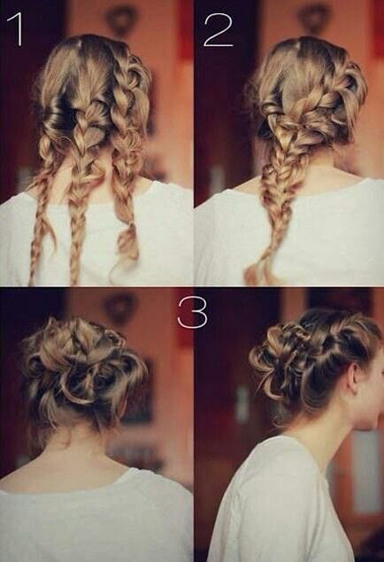 Three braids combined to make one bun