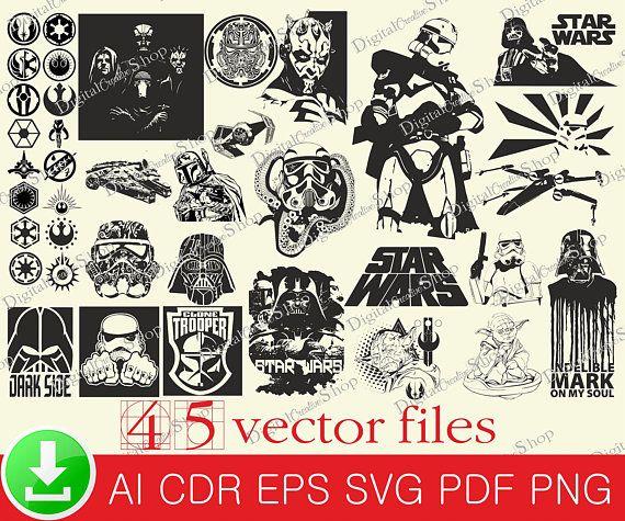 45 Star Wars Silhouette Svg Dath Vader Svg Star Wars Prints Yoda Svg Star Wars Digital Pack Digital Clipart Wa Star Wars Silhouette Star Wars Prints Star Wars