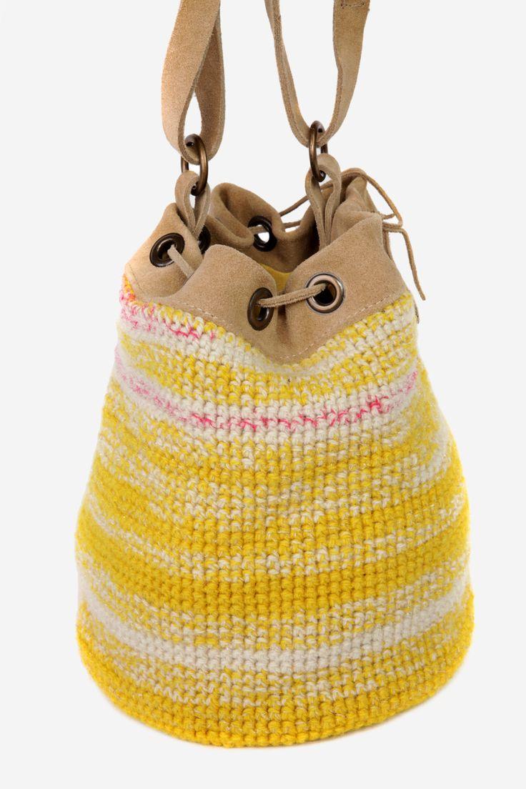 Yellow Hand Knitted Handbag-Bucket Bag-Wool Bucket Bag-Unique Handbag-Trendy Fun Young Bucket bag-wool by CarolineMazurik on Etsy