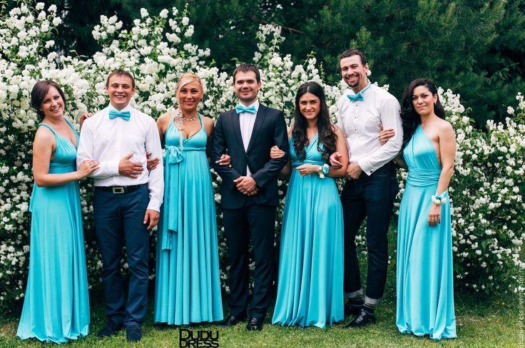Купить Платья-трансформеры для подружек невесты бирюза - бирюзовый, однотонный, бирюза, тиффани, бирюза тиффани