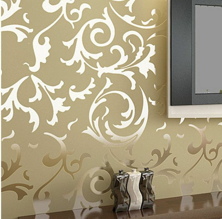 Details about modern victorian flocking velvet textured damask wallpaper roll silver gold - Wall wallpaper designs ...