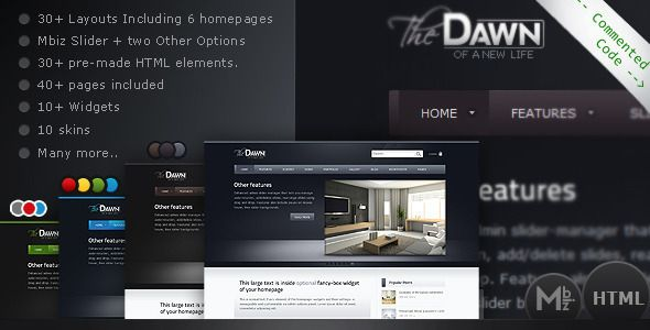 "theDawn Premium All-in-one HTML Theme   http://themeforest.net/item/thedawn-premium-allinone-html-theme/2594445?ref=damiamio                  Update (Nov.5.2012)  - According to twitter recent API update, twitter widget is now updated in version 1.1 of theDawn.  About  ""theDawn HTML"" is a powerful theme that's full of features and layout options. While working on it, I've been paying attention to the design and theme structure, as well as options variety and customizability. With its 30…"
