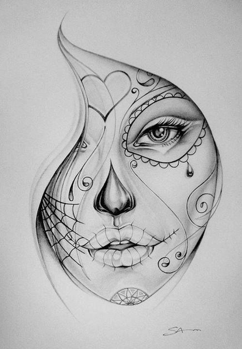 day of the dead girl coloring pages google search skull sketchface sketchsugar skull tattoossugar - Sugar Skull Tattoo Coloring Pages