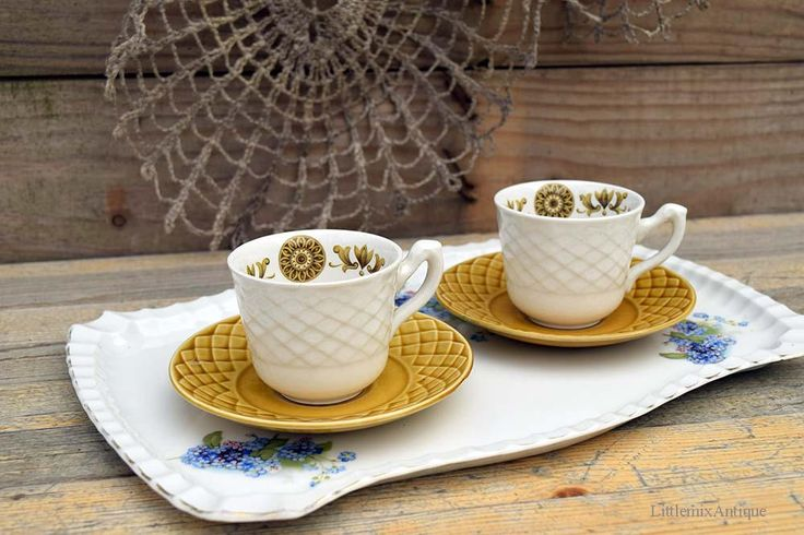 Set of 2 Vintage 'Gold Medallion' Enoch Wedgwood Tunstall Ltd England Small Espresso Demitasse  Cups with Saucers Retro English Drinkware by LittlemixAntique on Etsy