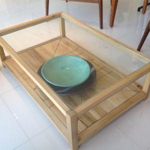 Mesa micaela mesa de centro estructura en madera de for Mesa de madera con vidrio