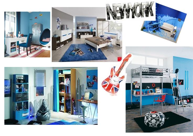 dominante bleu sur ambiance chambre ado wall murs et autres pinterest. Black Bedroom Furniture Sets. Home Design Ideas