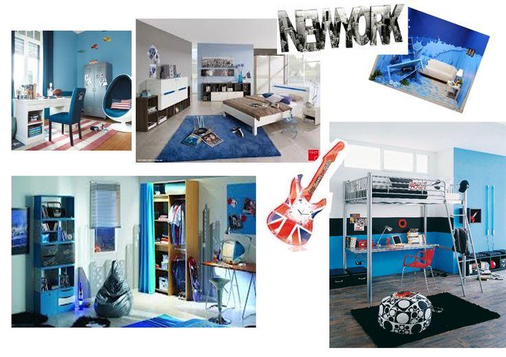 dominante bleu sur ambiance chambre ado wall murs et autres pinterest. Black Bedroom Furniture Sets. Home Design Ideas