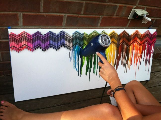 Chevron Crayon. Would do this for my dorm in yellow-blue-grey-and white behind a taupe painted canvas?