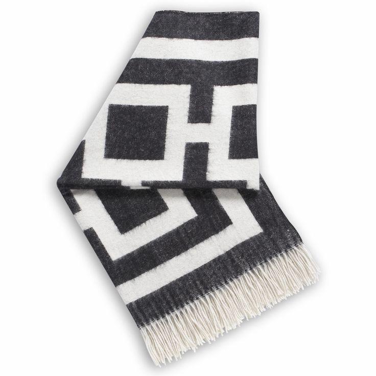 Modern Blankets & Throws | Richard Nixon Alpaca Throw | Jonathan Adler but in Navy and Light Blue
