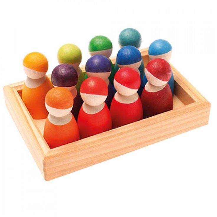 grimm's houten regenboog vrienden - 12 st 10581 | ilovespeelgoed.nl