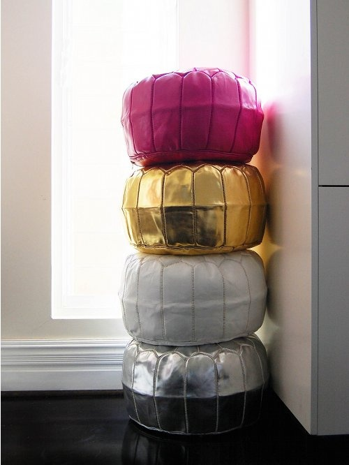Great colours and fun pouffes.