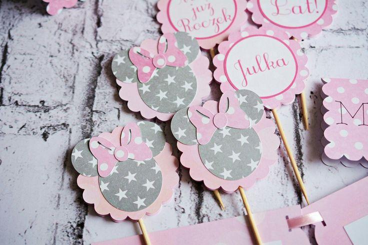 Wyjątkowe dekoracje urodzinowe dla dzieci, Dekoracje na zamówienie, piki do muffin, dekoracje na tort #dekoracje #urodziny #dziecko #roczek #wnętrza #piki #cupcakes #toppers #kidsparty #muffin #birthday #party #minnie