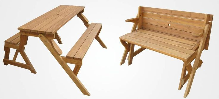 Bench folds out into picnic table.... PERFECT for small porches.  I must have one of these!!!