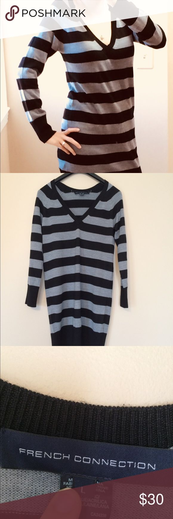 """French Connection Sweater Dress/Tunic I love this black and gray sweater dress. It is in great used condition with no stains or rips that I can see. Right in time for the winter season! Buy this wardrobe staple while it is still available!    Offers are always welcome! Thanks for looking!  Measurements: Shoulder to hem: 34.5"""" Armpit to armpit: 18"""" Sleeve: 27"""" French Connection Tops Tunics"""