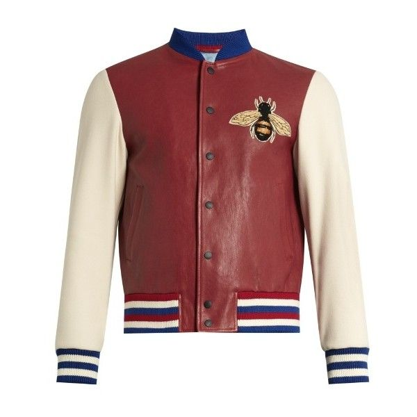 Gucci Contrast-sleeve leather bomber jacket (50.025.015 IDR) ❤ liked on Polyvore featuring men's fashion, men's clothing, men's outerwear, men's jackets, red multi, mens leather bomber jacket, mens leather flight jacket, mens red bomber jacket, mens short sleeve jacket and mens leather sleeve jacket
