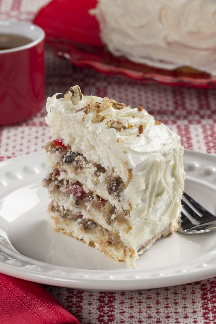 Lane Cake - filled with coconut pecan frosting, cherries and raisins | mrfood.com