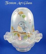 Fenton Glass Bluebird Fairy Light French Opalescent