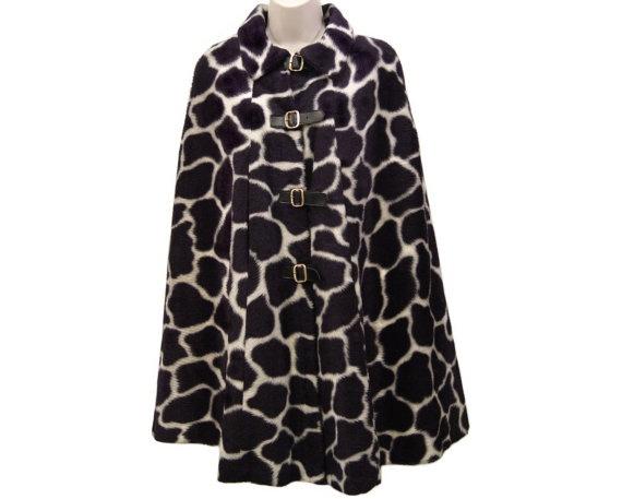 1960s Mod Giraffe Print Cape, Black and White Faux Fur