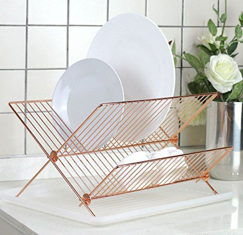 deluxe steel foldable x shape shelf small dish drainers with drainboard gold copper neato by hopeful