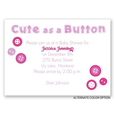 cute as a button mini baby shower invitation